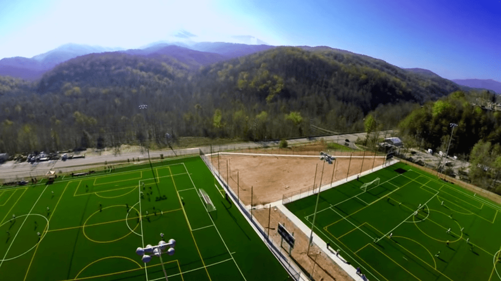 Breathtaking aerial view of the fields at our Smoky Mountain sports complex.