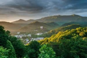 The city of Gatlinburg in the Smoky Mountains.