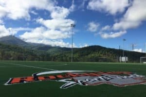 An outdoor field at Rocky Top Sports World with beautiful mountain views.