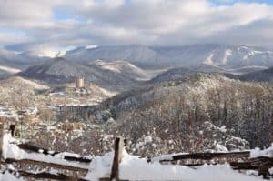 Gatlinburg covered in snow during the winter.